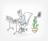 Work in office laptop vector illustration man royalty free illustration