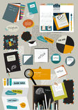 Work office web layout. Colorful flat graphic template. Royalty Free Stock Photos