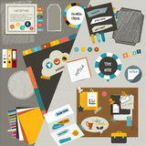 Work office web layout flat components. Colorful g. Raphic template. Folder, sticker, graph, tab, data, bubbles set. Vector background. Vintage style Royalty Free Stock Photos
