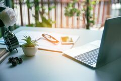 Free Work Online From Home Concept. Royalty Free Stock Photography - 180210317