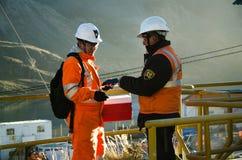 Work in the open pit mine in Cerro de Pasco stock image
