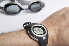 Work out. Swimming glassdes and watch with time displayed Stock Image