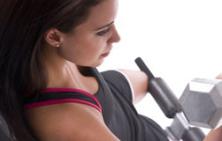 Gym Work Out Female Weight Bench White Background Royalty Free Stock Images