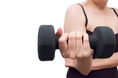 Work Out. Young woman working out with dumbell Stock Photo