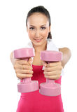 Work out with dumbbells Stock Photography