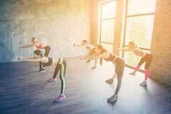 Work out and wellbeing time. Five pretty young slim ladies are s. Tretching their bodies by doing exercise, wearing fashionable sport wear, sneakers, focused Royalty Free Stock Photo