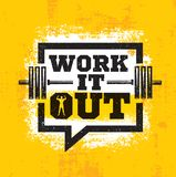 Work It Out. Workout and Fitness Gym Strong Design Element Concept. Sport Motivation Quote. Rough Vector Sign. Workout and Fitness Gym Strong Design Element stock illustration