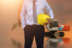 Work outdoor wear safety equipment. Work outdoor wear safety equipment  at  construction site Royalty Free Stock Image