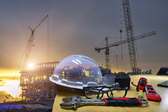 Work outdoor wear safety equipment. Work outdoor wear safety equipment  at utility construction site Royalty Free Stock Image