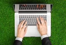 Work outdoors and businessman topic: human hands show the gestur Royalty Free Stock Image