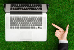 Work outdoors and businessman topic: human hands show the gestur Stock Photography