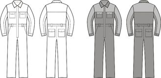 Work overalls. Front and back. Vector illustration of work overalls. Front and back Stock Photo