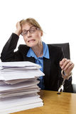 Work overload at desk Royalty Free Stock Image