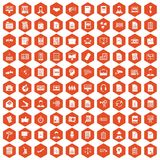 100 work paper icons hexagon orange Stock Photo