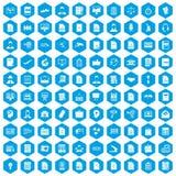 100 work paper icons set blue. 100 work paper icons set in blue hexagon isolated vector illustration vector illustration