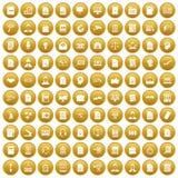 100 work paper icons set gold. 100 work paper icons set in gold circle isolated on white vectr illustration Stock Photo