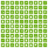 100 work paper icons set grunge green. 100 work paper icons set in grunge style green color isolated on white background vector illustration Stock Images