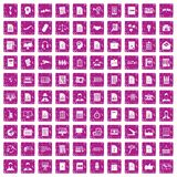 100 work paper icons set grunge pink. 100 work paper icons set in grunge style pink color isolated on white background vector illustration Royalty Free Stock Photos