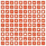 100 work paper icons set grunge orange. 100 work paper icons set in grunge style orange color isolated on white background vector illustration Royalty Free Stock Photo