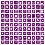 100 work paper icons set grunge purple. 100 work paper icons set in grunge style purple color isolated on white background vector illustration stock illustration