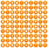 100 work paper icons set orange. 100 work paper icons set in orange circle isolated vector illustration Royalty Free Illustration
