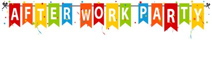 After Work Party - Colorful Flags With Confetti And Streamers - Vector Illustration - Isolated On White Background vector illustration