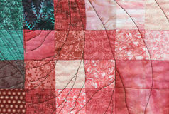 Work of patchwork fabric with many forms Royalty Free Stock Photo