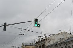 Work pedestrian traffic lights on the main street of the city of Vladimir. stock photo