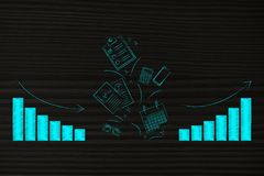 Work performance objects with graphs from negative to positive g Royalty Free Stock Image