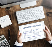 Work Permit Application Job Employment Concept Royalty Free Stock Photo