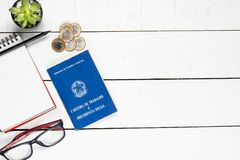 Work permit, cactus, notepad, black pencil, glasses and some Br. Azilian one real coins on white background pinus stock photography