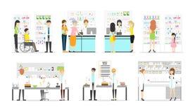 Work at pharmacy laboratory. Work at pharmacy laboratory set. People in white uniform on white background Royalty Free Stock Photos