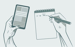 We work with the phone. Take notes. Vector. Illustration Stock Photography