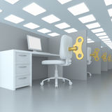 Work place. 3D concept of work place with clockwork key and the chair Stock Image