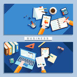 Work place concept in flat design Royalty Free Stock Photos