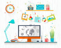 Work place of designer-illustrator Stock Photo