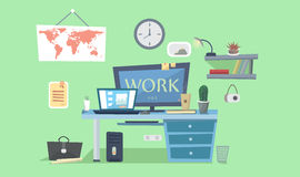 Work place. Designer work space, desk with computer, lamp, books, photo frames. Vector background. Working Place Modern Office Interior Design Vector Royalty Free Stock Photo