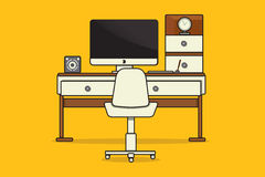 Work place or office. With computer, table and chair stock illustration