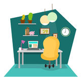 Work Place at Office or Home. Vector Stock Photo