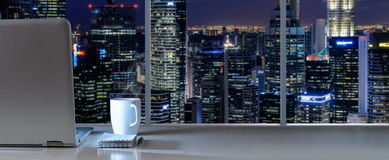 Work place with panoramic view Royalty Free Stock Images