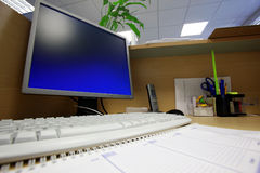 Work place with PC Stock Photo