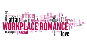 Work place romance. Company employee dating and love. Corporate regulations word cloud Royalty Free Stock Photos