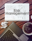 work place - table with notebook with note about: risk management stock photos