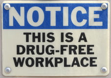 Work Place Warning. Drug free work place warning sign Royalty Free Stock Photography