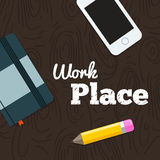 Work place on wood background Stock Photos