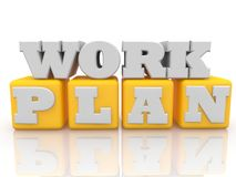 Work plan concept on cubes in yellow color. In background vector illustration