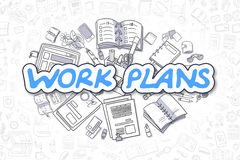 Work Plans - Cartoon Blue Text. Business Concept. Stock Photo