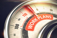 Work Plans - Text on Conceptual Gauge with Red Needle. 3D. Stock Image