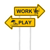 Work or play. Road sign, 3d render, white background Stock Images