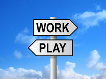 Work Play Signpost Royalty Free Stock Photos
